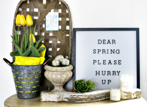 Create A Pretty Farmhouse Spring Vignette With Tulips