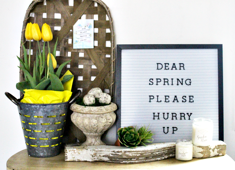 spring farmhouse vignette