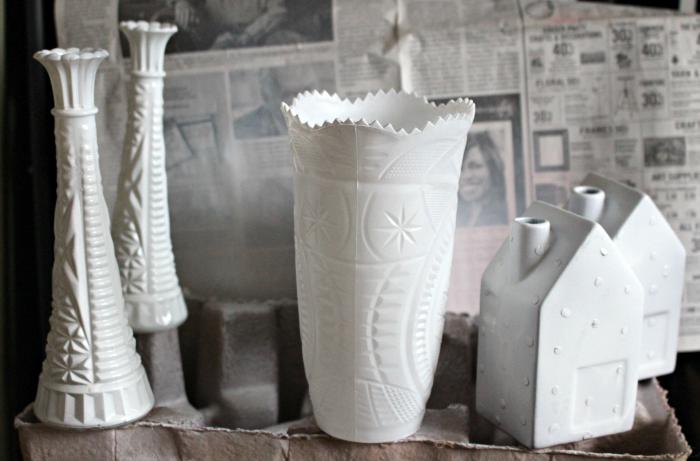 Easy To Make Beautiful Faux Hobnail Milk Glass Our Crafty Mom #milkglass #fauxmilkglass #hobailmilkglass #farmhousehens
