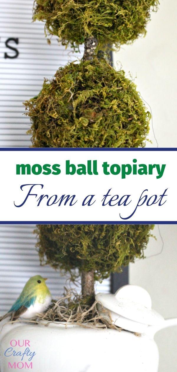 close up of diy tea pot topiary with bird