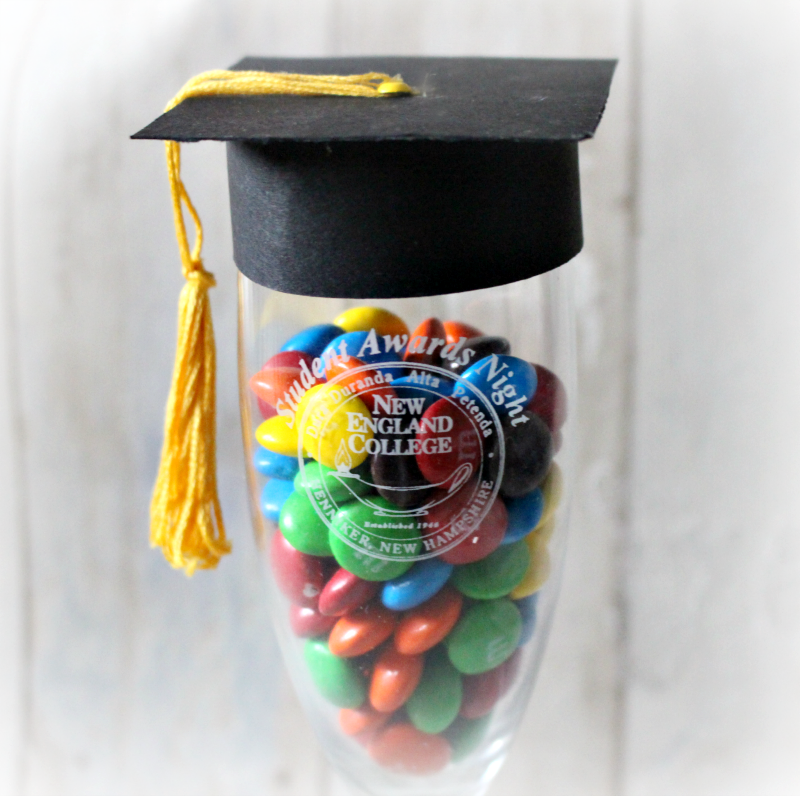 Make A Cool Graduation Champagne Glass Party Favor Our Crafty Mom #graduationfavor #graduation #cricutmade