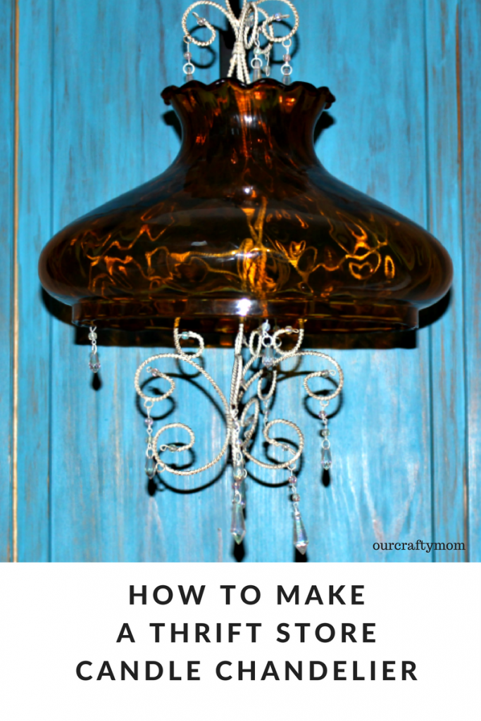 How To Make A Candle Chandelier From Thrift Store Finds Our Crafty Mom #repurposeit #thriftstorefinds #upcycled #repurposed #ourcraftymom