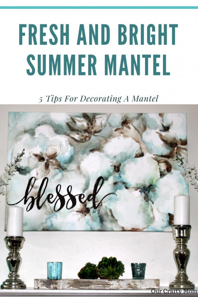 Fresh And Bright Summer Mantel Decorating Ideas Our Crafty Mom #decorateyourmantel #summermantel #homedecorating #mantels #succulents #mercuryglass