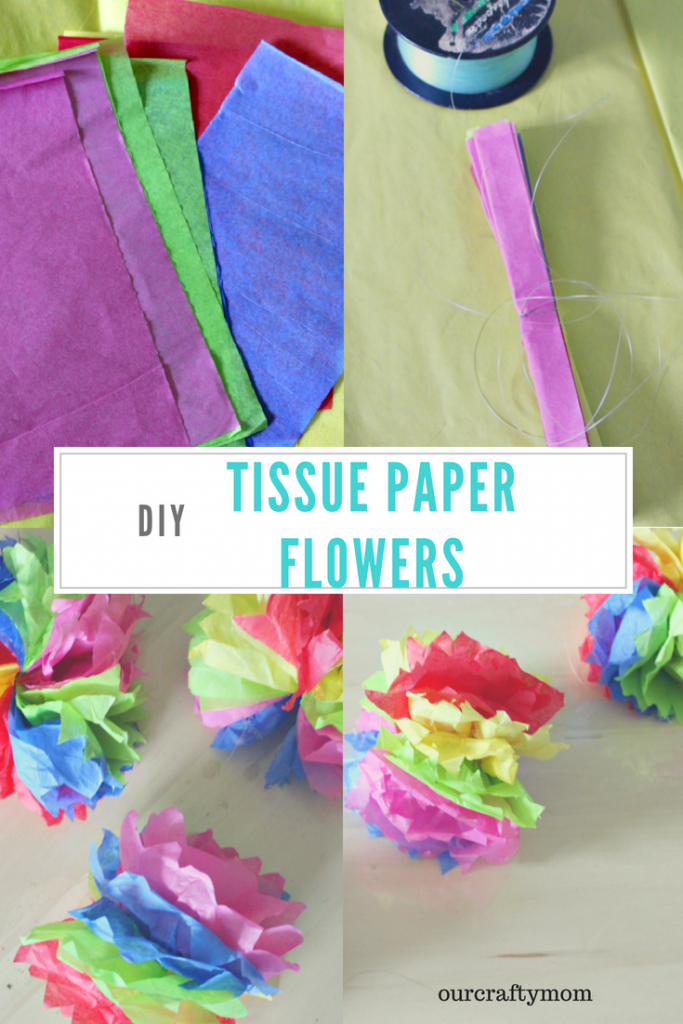 How To Make DIY Hanging Tissue Paper Flower Garland Our Crafty Mom #creativebloggers #tissuepapercrafts #tissuepaperflowers #ourcraftymom