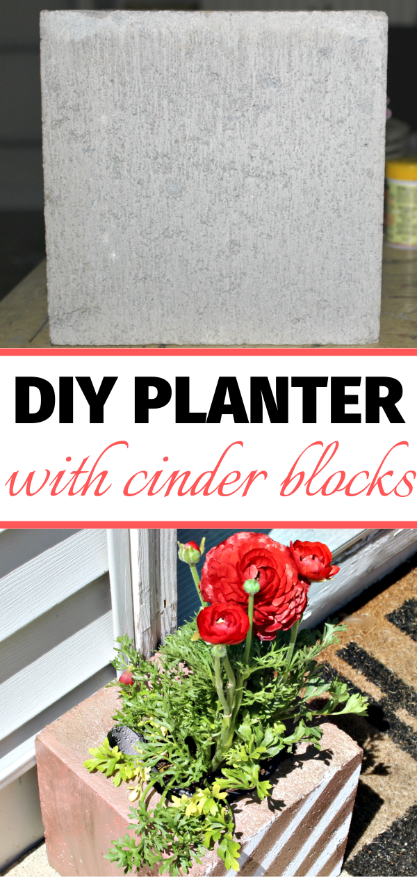 cinder block planter with flowers