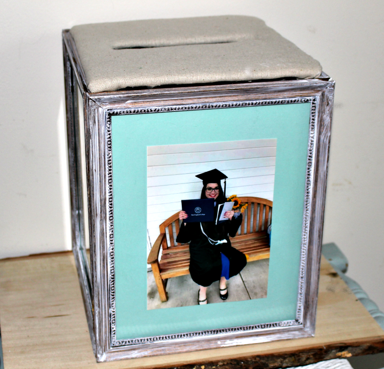Easy DIY Graduation Photo Frame Card Box Our Crafty Mom #craftlightning #graduationcardbox #graduation #cardbox #dollarstore #diydecor #ourcraftymom