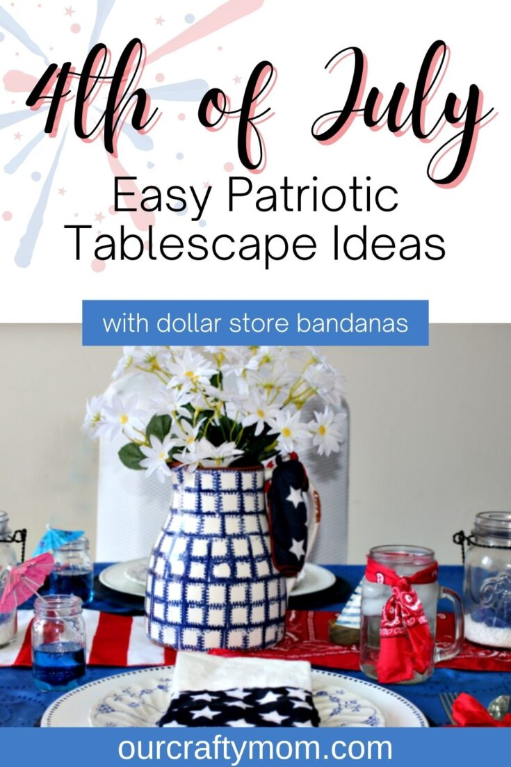4th of july patriotic tablescape with text overlay