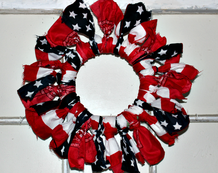 Make A Fun Fourth Of July Dollar Store Bandana Wreath Our Crafty Mom #dollarstorewreath #patrioticwreath