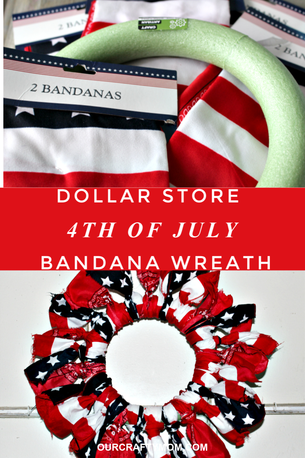 4th of july wreath with bandanas from the dollar store