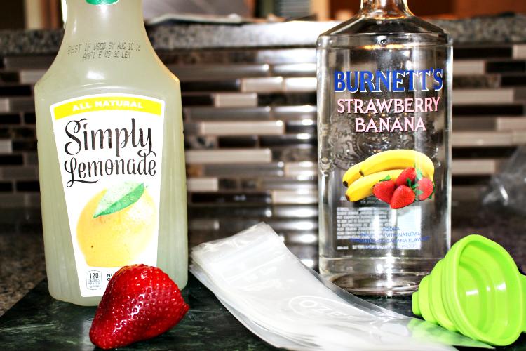 How To Make Strawberry Banana Vodka Freeze Pops **21+** Our Crafty Mom #pinterestchallenge #ourcraftymom #recipes #adultfreezepops #summerrecipes #boozepops