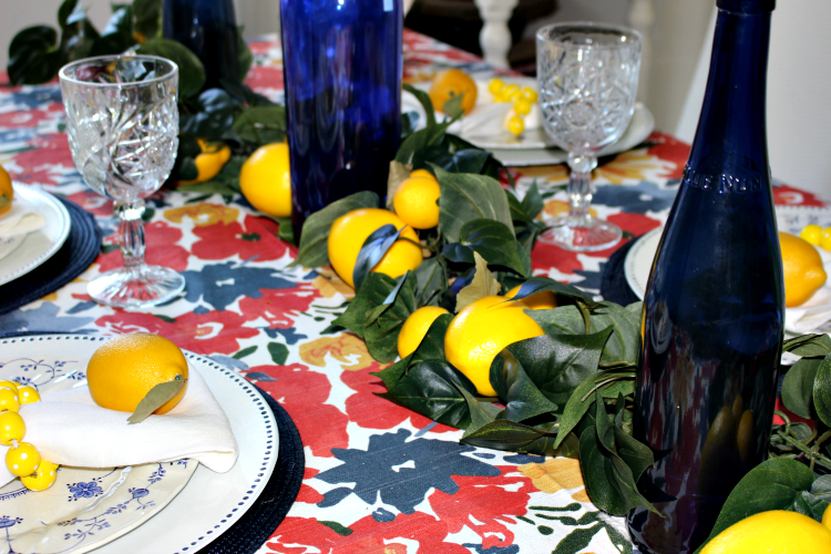 Set A Beautiful Farmhouse Summer Lemon Tablescape Our Crafty Mom #summertablescape #lemontablescape #farmhousestyle #tablescapes #tablesetting