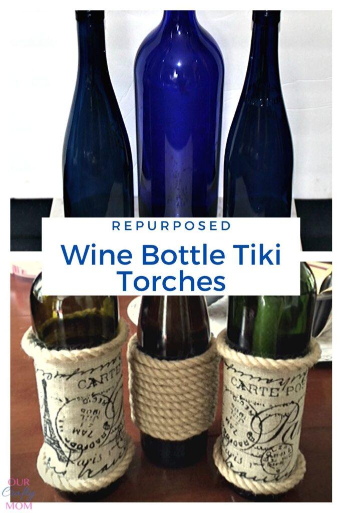repurposed wine bottle tiki torches