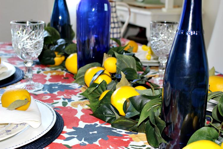 Set A Beautiful Farmhouse Summer Lemon Tablescape Our Crafty Mom #summertablescape #lemontablescape #farmhousestyle #tablescapes #tablesetting