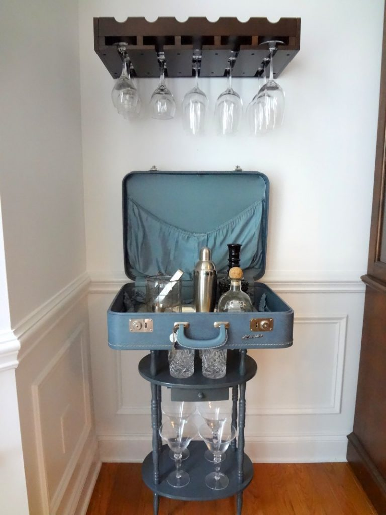 Vintage Suitcase Turned Bar