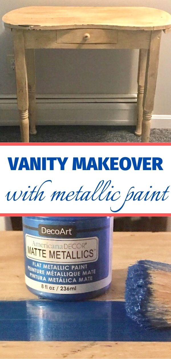 diy vanity makeover with blue metallic paint