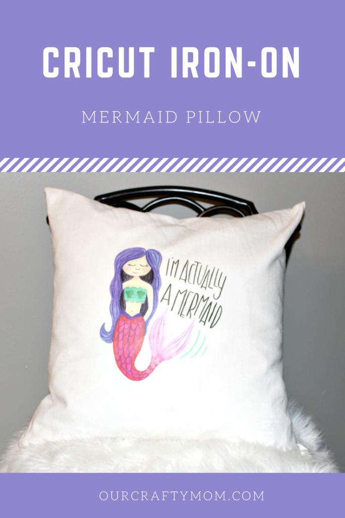 Make A Fun Cricut DIY Mermaid Pillow & Cricut Easy Press Giveaway! Our Crafty Mom @OfficialCricut #cricutmade #GIVEAWAY #mermaidpillow #sponsored #ironon #easypress