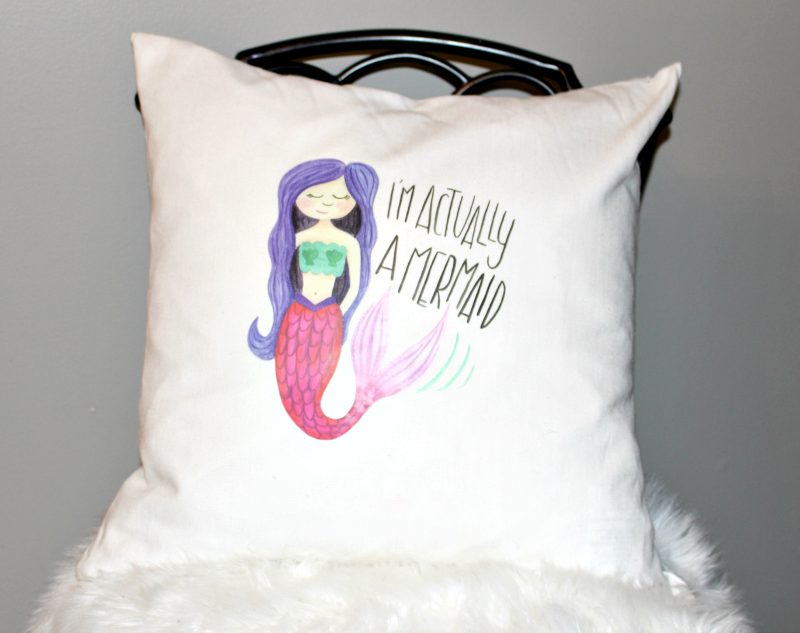 Make A Fun Cricut DIY Mermaid Pillow & Cricut Easy Press Giveaway! Our Crafty Mom @Cricut #cricutmade #GIVEAWAY #mermaidpillow #sponsored #ironon #easypress