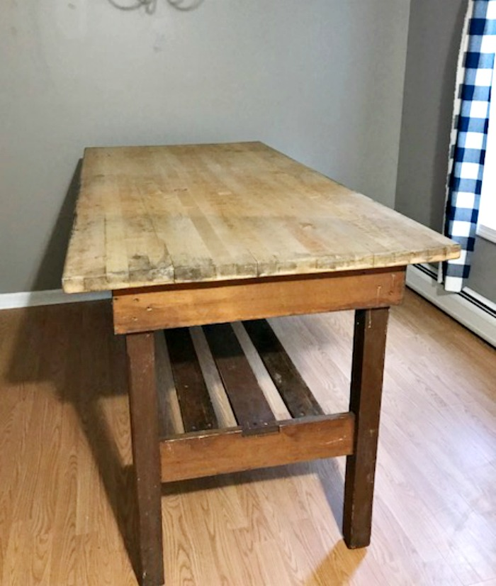 Antique Butcher Block Island Becomes The Perfect Farmhouse Table Before #ourcraftymom