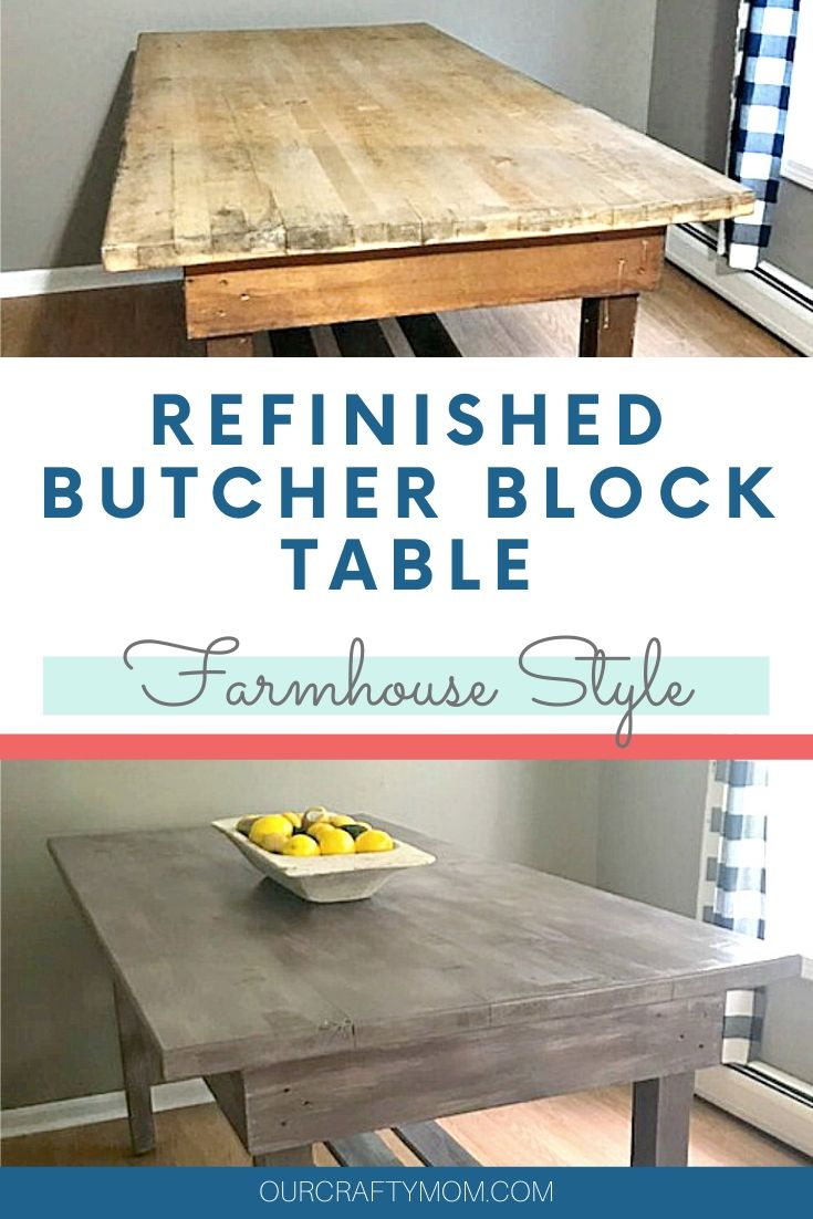 butcher block table refinished farmhouse table