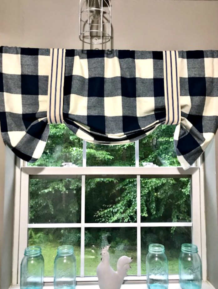 DIY Buffalo Check No Sew Valance