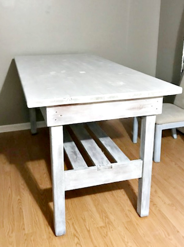 Farmhouse Table After Two Coats Of White Chalk Paint
