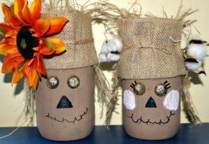 Easy To Make Mr. & Mrs. Scarecrow Mason Jars