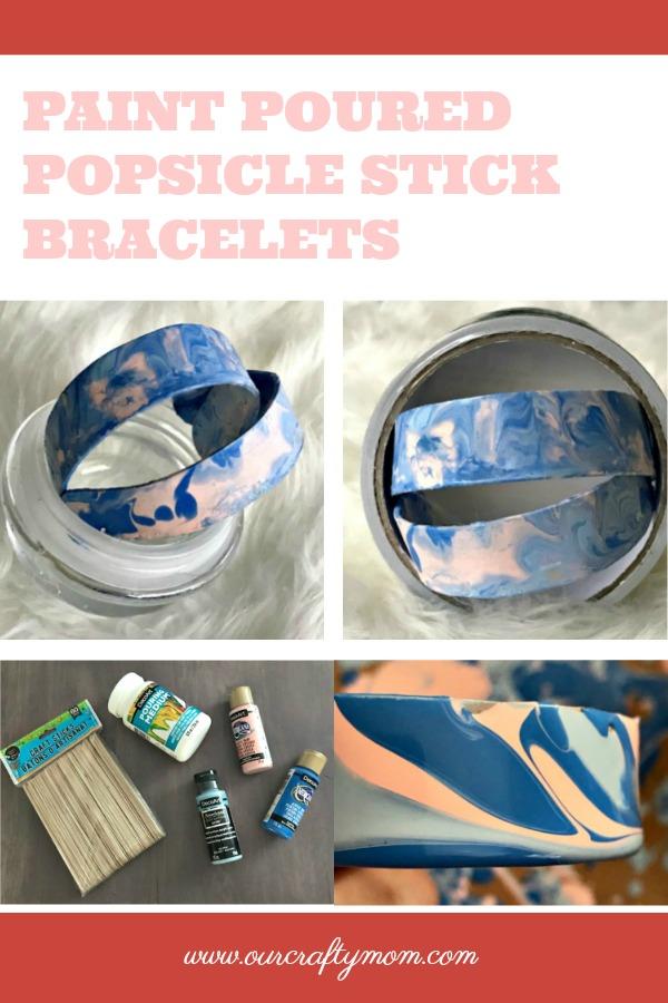 Paint Poured Popsicle Stick Bracelets #ourcraftymom