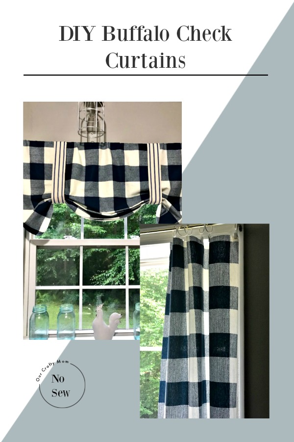 Easy To Make No Sew Buffalo Check Curtain Our Crafty Mom Pinterest #buffalocheckcurtains #diycurtains