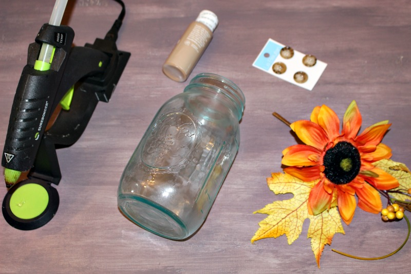 Supplies needed for Scarecrow Mason Jars Our Crafty Mom