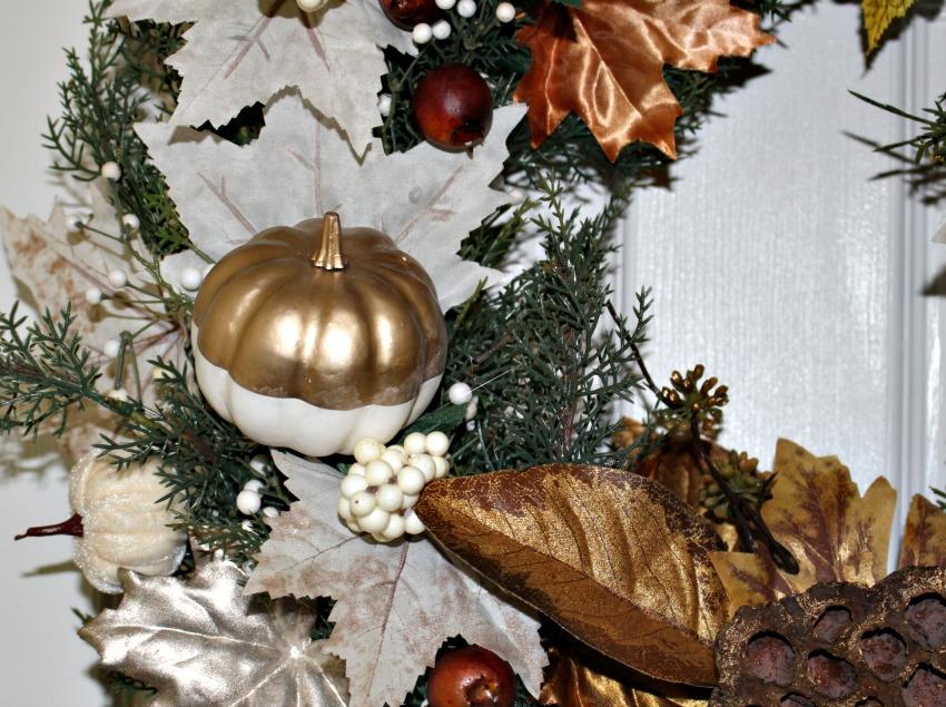 Close Up Of Metallic Wreath