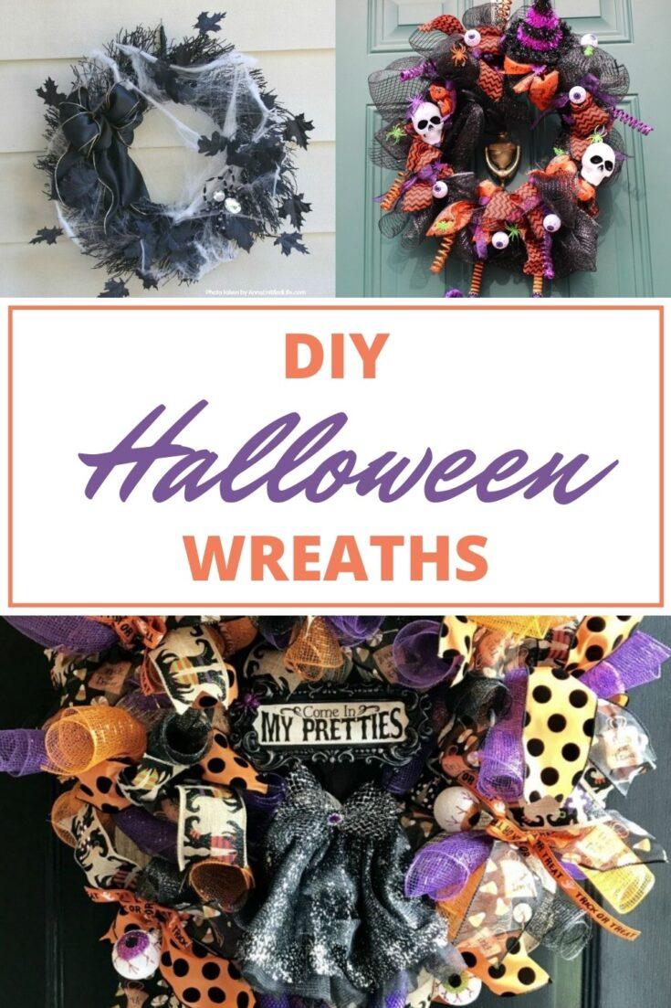DIY Halloween wreaths pin collage