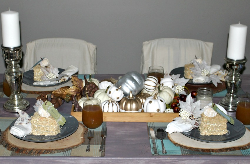 Fall Tablescape With Metallic Accents Our Crafty Mom