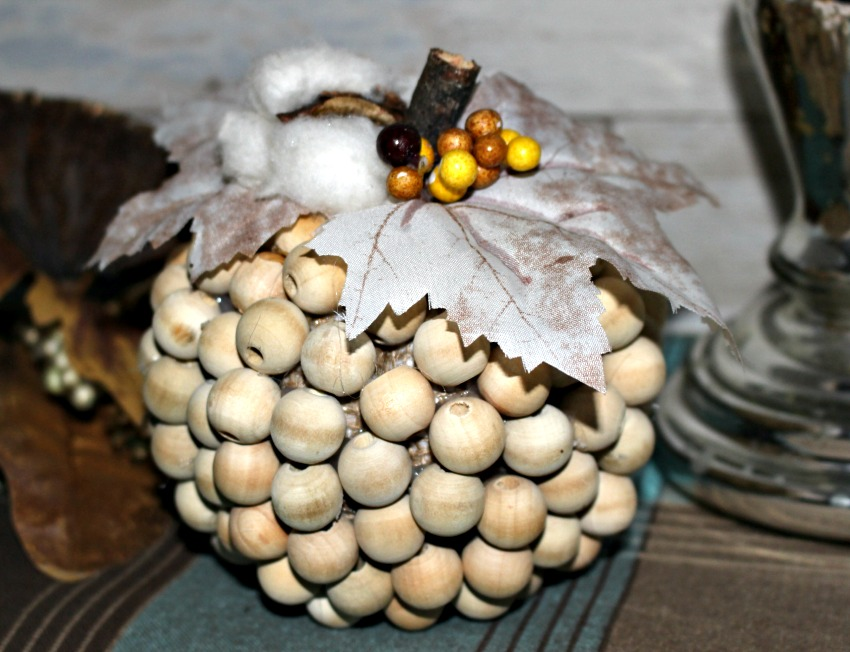 Close Up Farmhouse Style Wood Bead Pumpkin