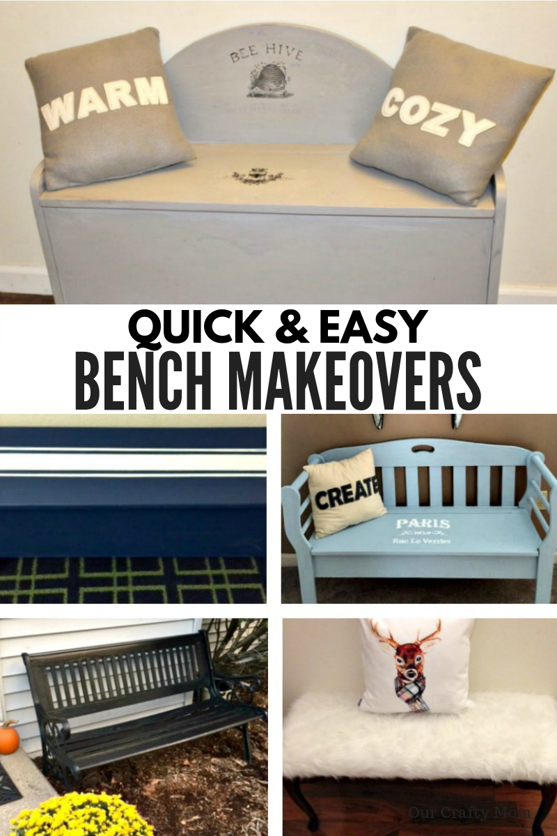 5 Quick And Easy DIY Bench Makeovers #ourcraftymom #refinishedbench #farmhousestyle #farmhousehens #diy