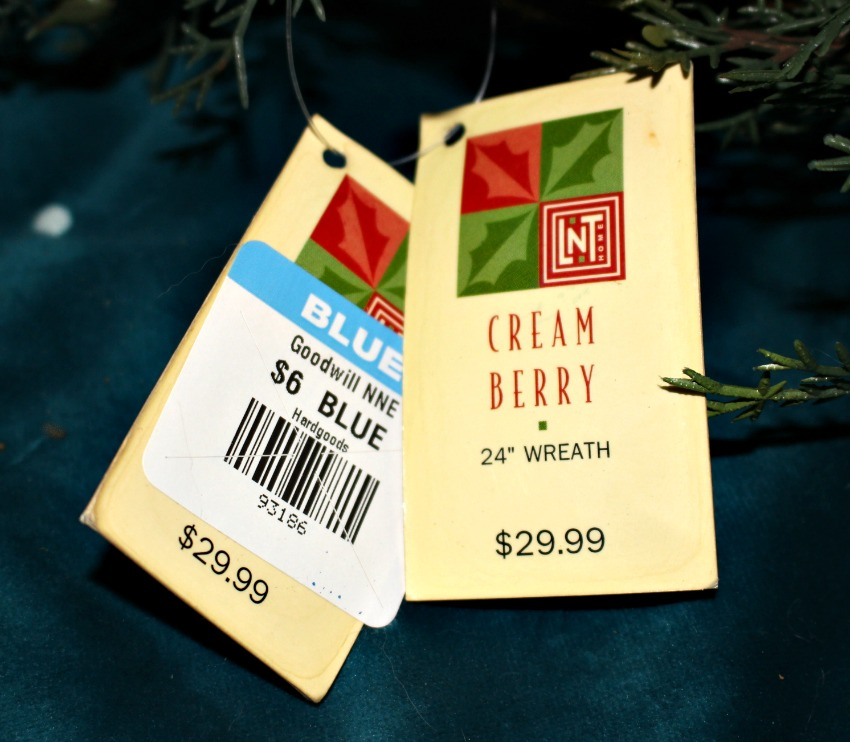 Thrift Store Wreath Price Tag