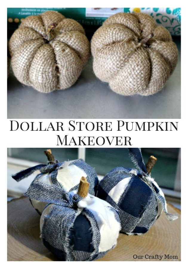 Dollar Store Pumpkin Makeover With Buffalo Check Fabric Our Crafty Mom