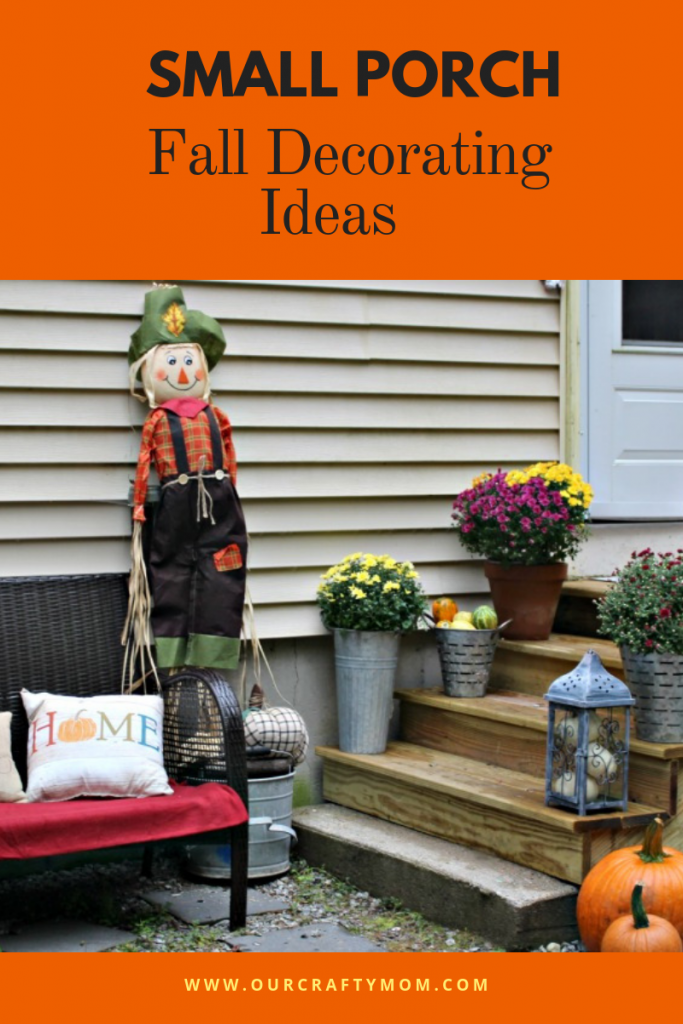 Small Porch Decorating Ideas For Fall #ourcraftymom #fallporch #falldecor