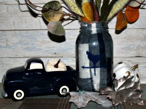 Make A Buffalo Check Mason Jar With Fabric