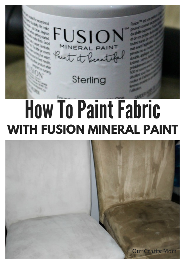 How To Paint Fabric With Fusion Mineral Paint Our Crafty Mom #ourcraftymom #fusionmineralpaint #oneroomchallenge #orc #paintedchairs