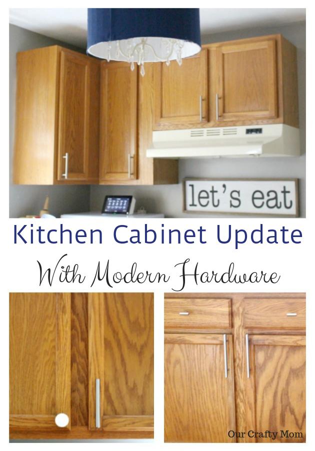 Kitchen Cabinet Update With Modern Hardware #ourcraftymom #oneroomchallenge #dlawlesshardware