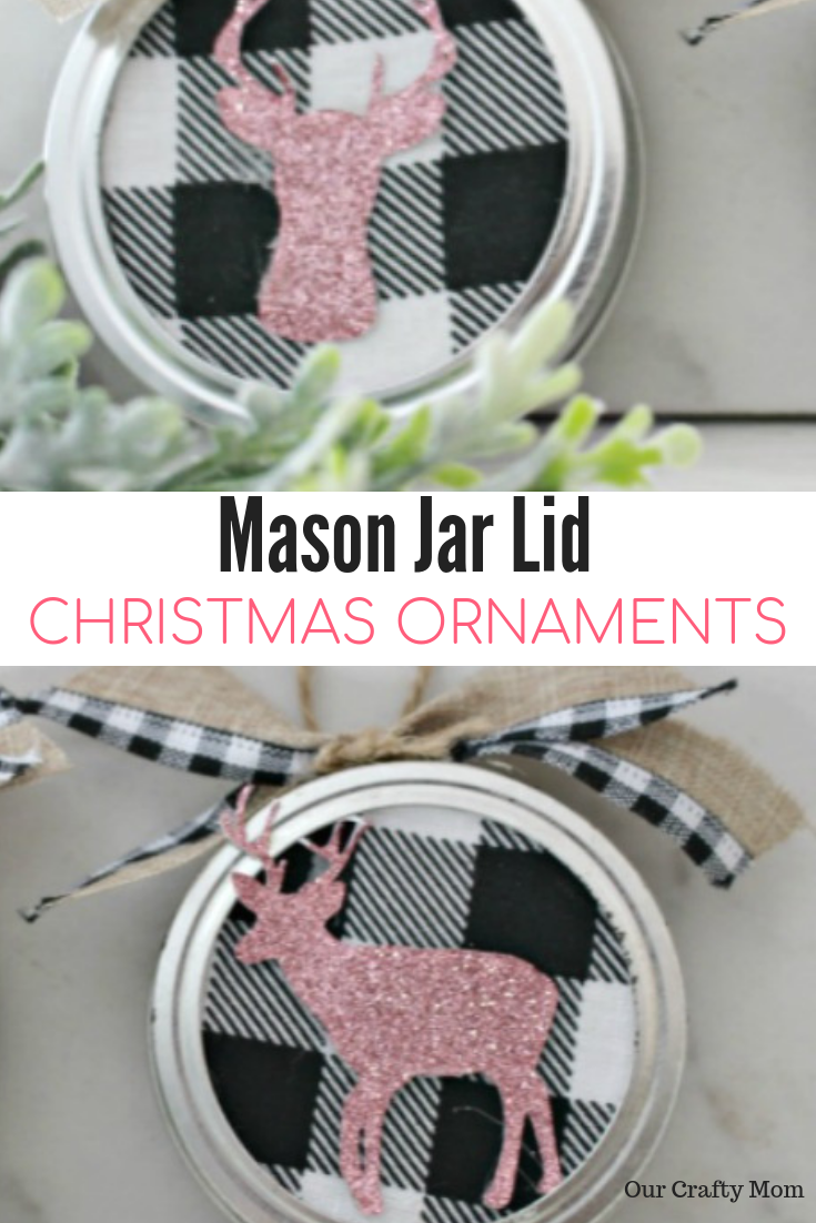 How To Make Buffalo Check Mason Jar Lid Christmas Ornaments #ourcraftymom #christmasornaments #masonjarlids #christmascrafts
