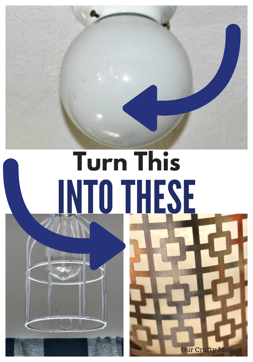 4 Renter Friendly Ideas To Update Ceiling Light Fixtures ORC Week 3 Our Crafty Mom #orc #bhgorc