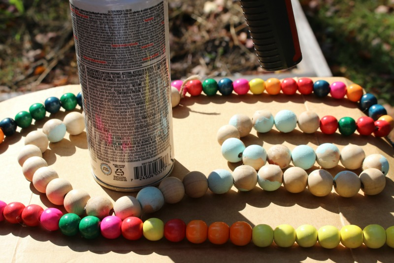 Wood Beads Spray Painted