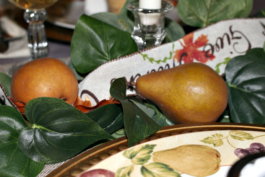 Close Up of Pears Thanksgiving Tablescape