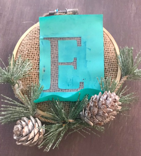 E on burlap ornament