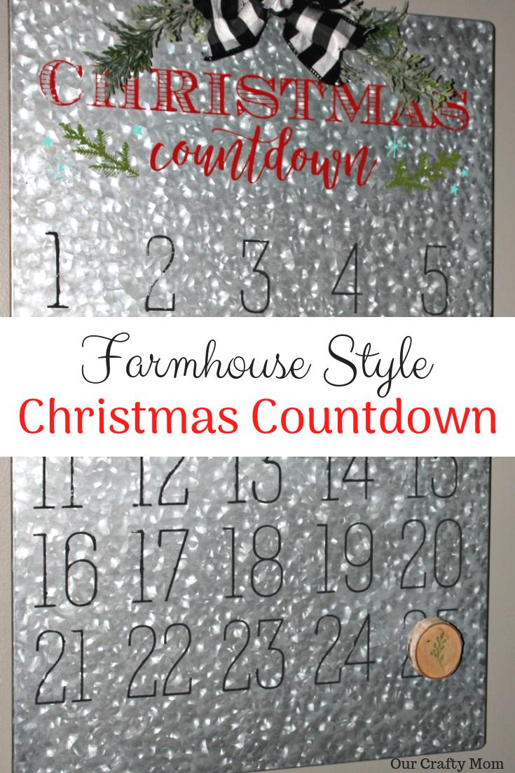 Farmhouse Style Christmas Countdown Calendar Our Crafty Mom #christmas #farmhousechristmas #christmascountdown