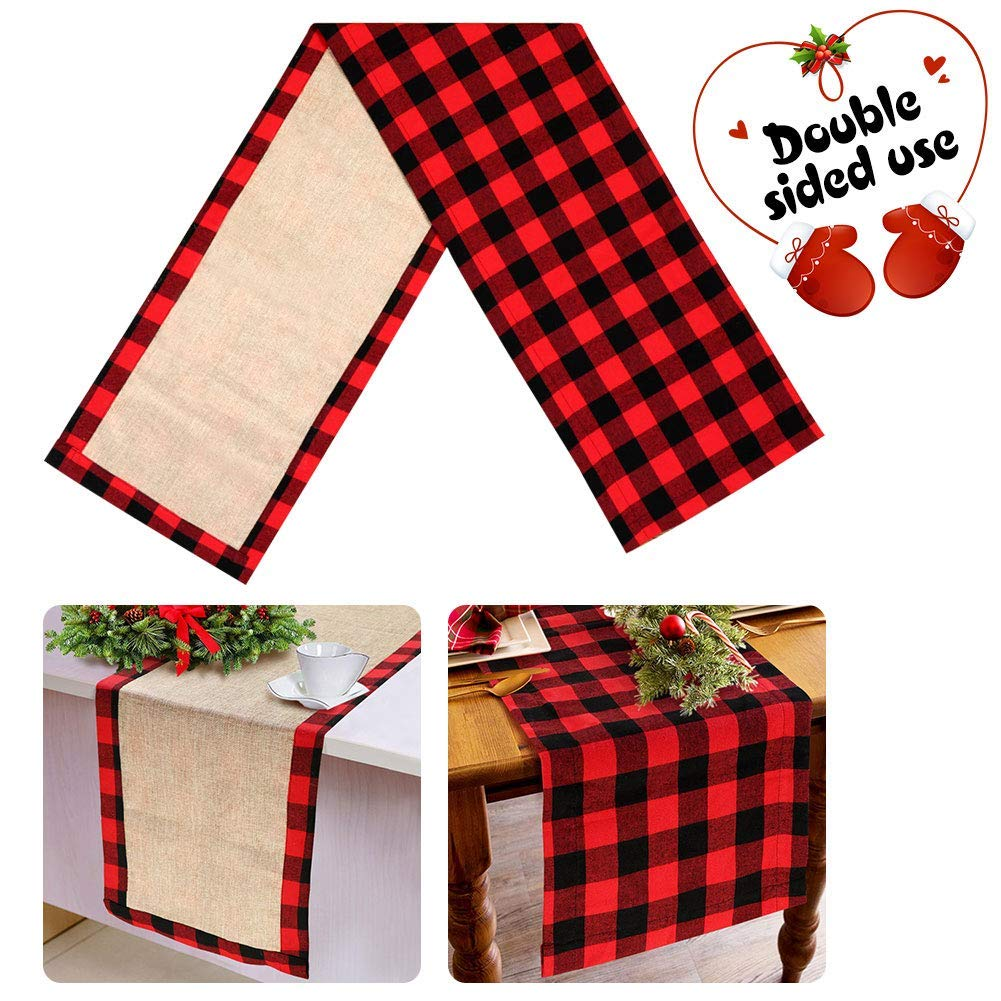 Reversible Buffalo Plaid Table Runner