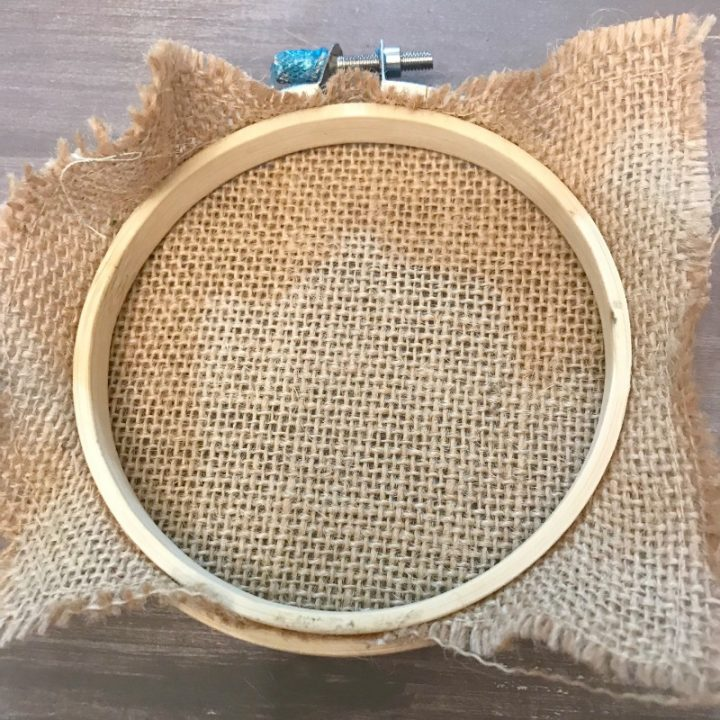 burlap on hoop