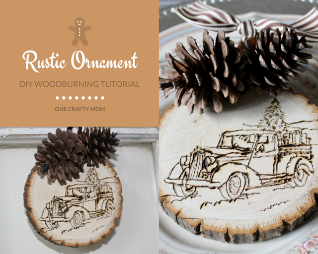 rustic wood slice ornament