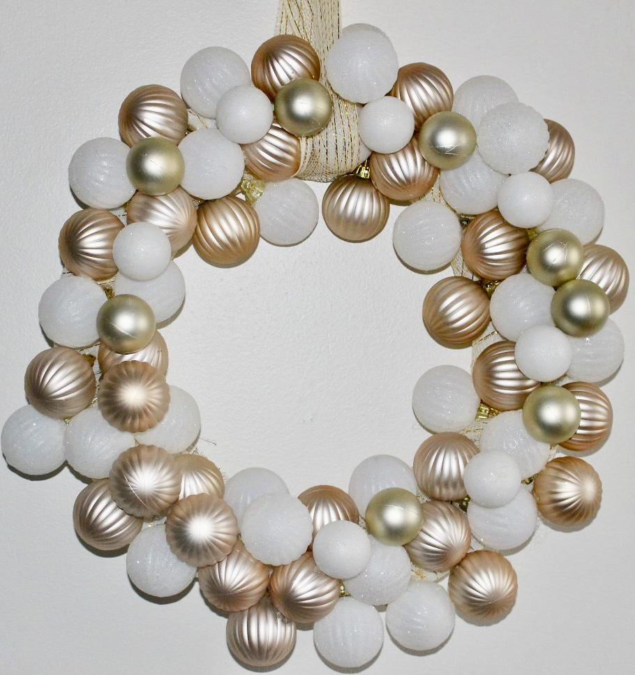 Image of Rose Gold and White Ornament Wreath